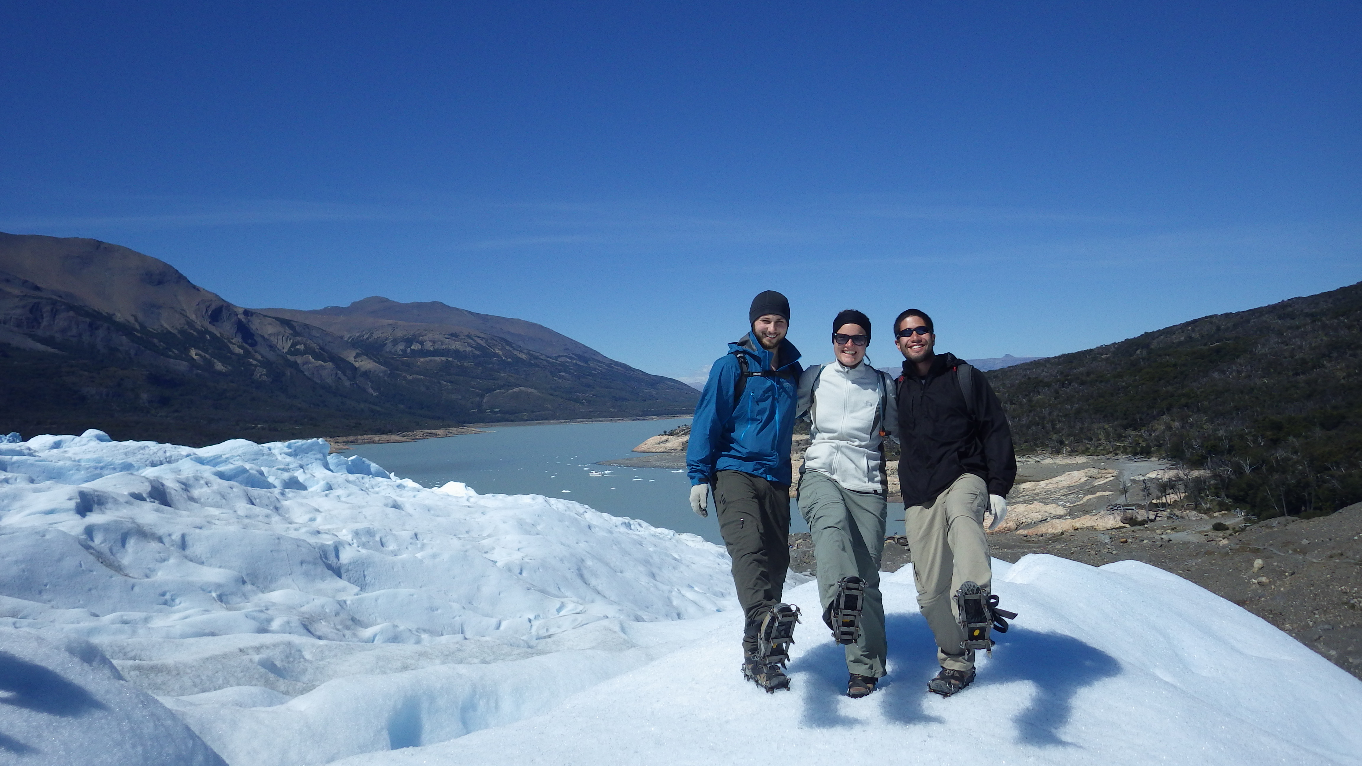 Shaun, Mari and I posing with our crampons.